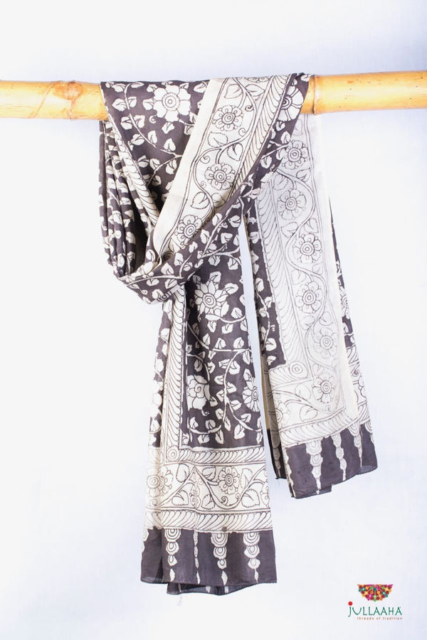 Soft Silk Stole / Dupatta With Handpainted Kalamkari Floral & Lotus Design - Jullaaha Boutique