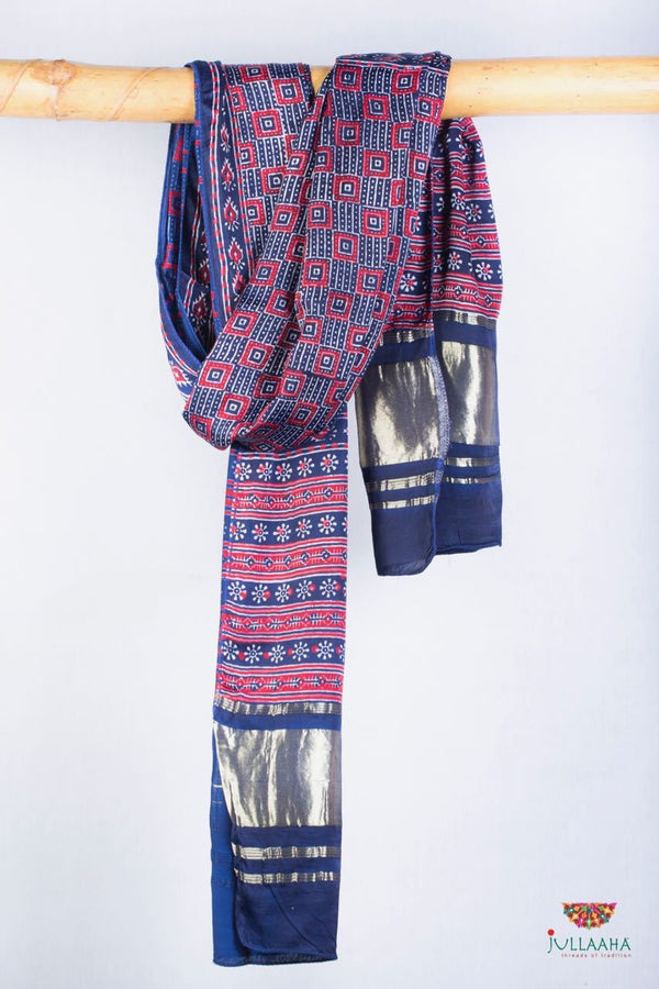 Sumo Satin Stole/ Dupatta With Bagru Print & Gold Border - Jullaaha Boutique