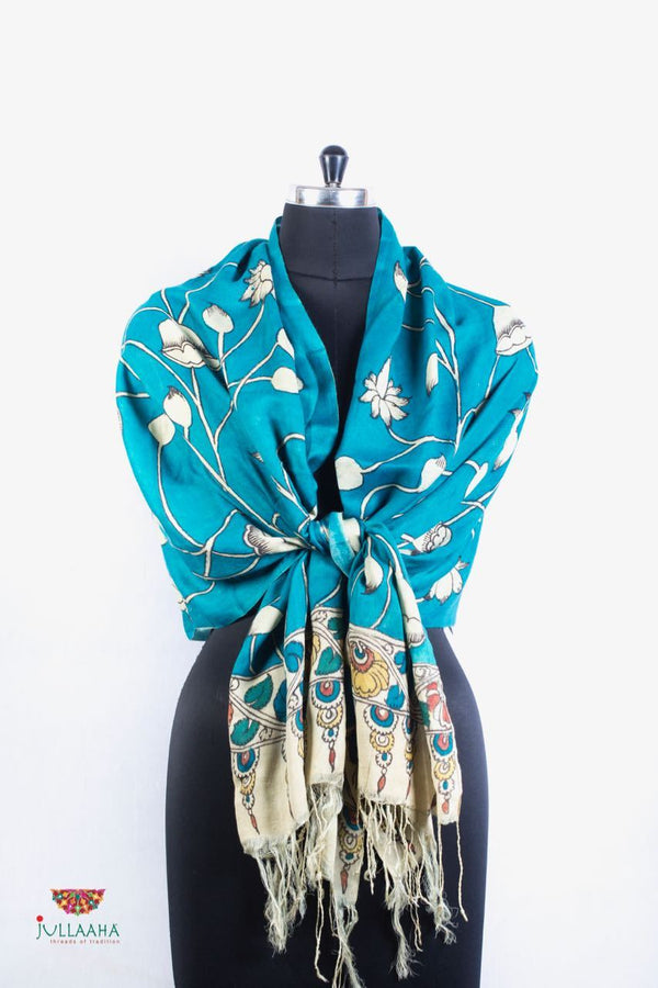 Pashmina Stole With Hand Drawn Kalamkari Lotus Design. - Jullaaha Boutique