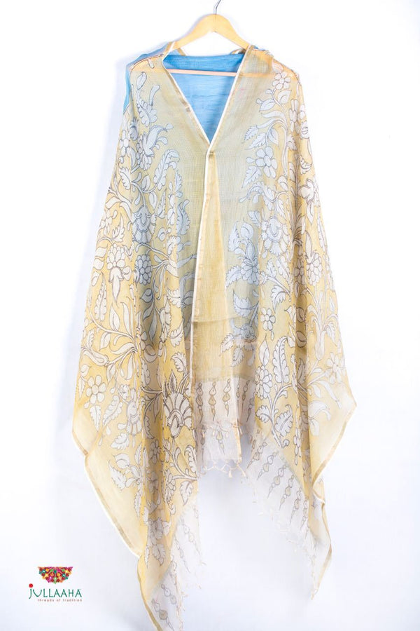 Silk Kota Stole / Dupatta  With Handpainted Kalamkari Floral Design - Jullaaha Boutique