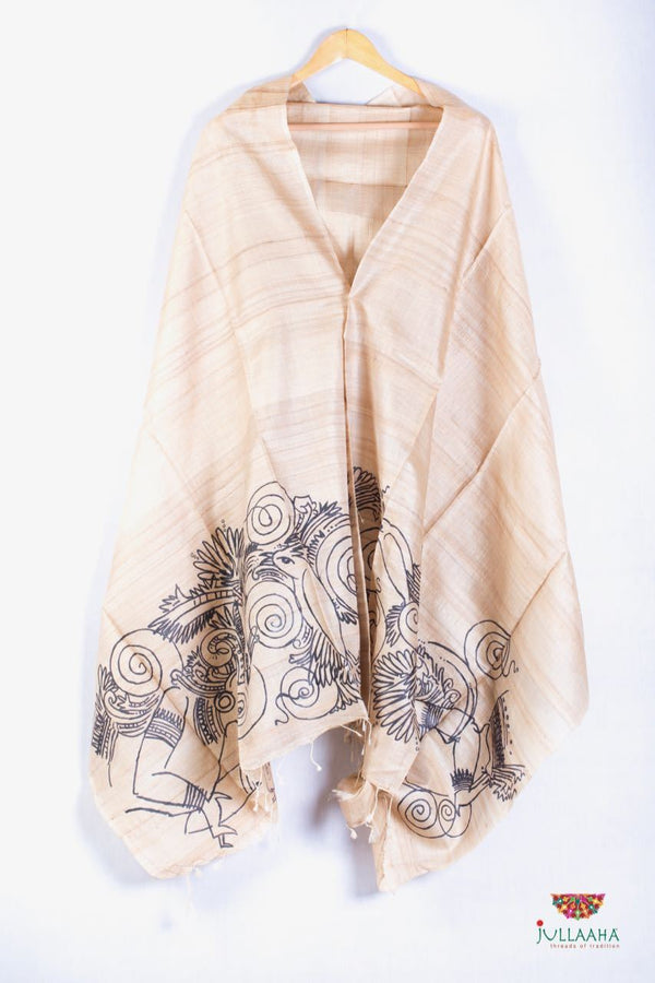 Tussar Silk  Stole / Dupatta With A Handpainted Mural Painting - Jullaaha Boutique