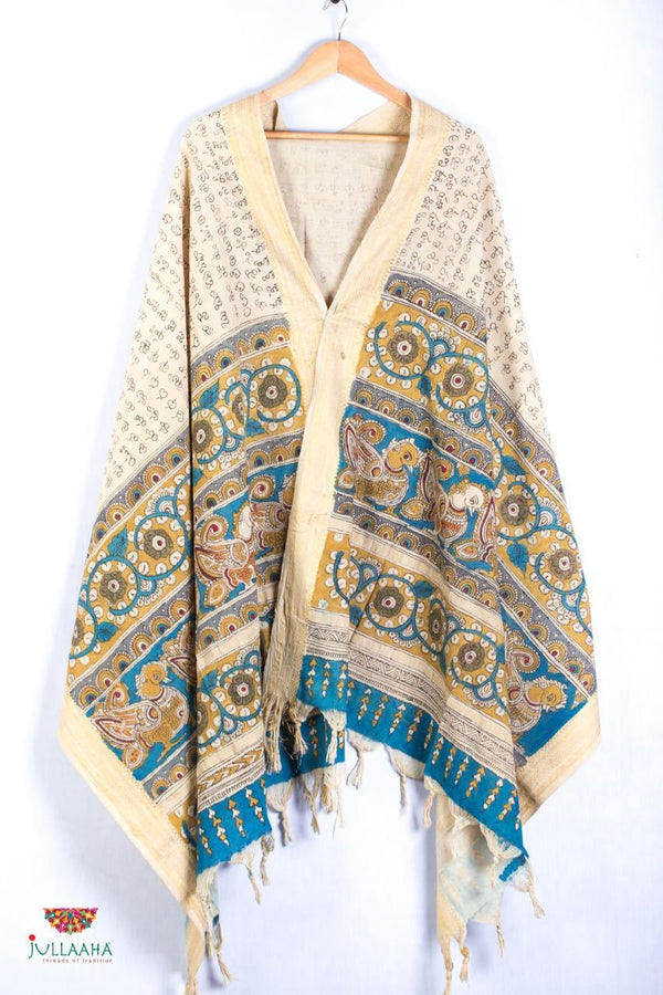 Mangalagiri Cotton Stole / Dupatta With Handpainted Kalamkari Peacock & Floral Design - Jullaaha Boutique