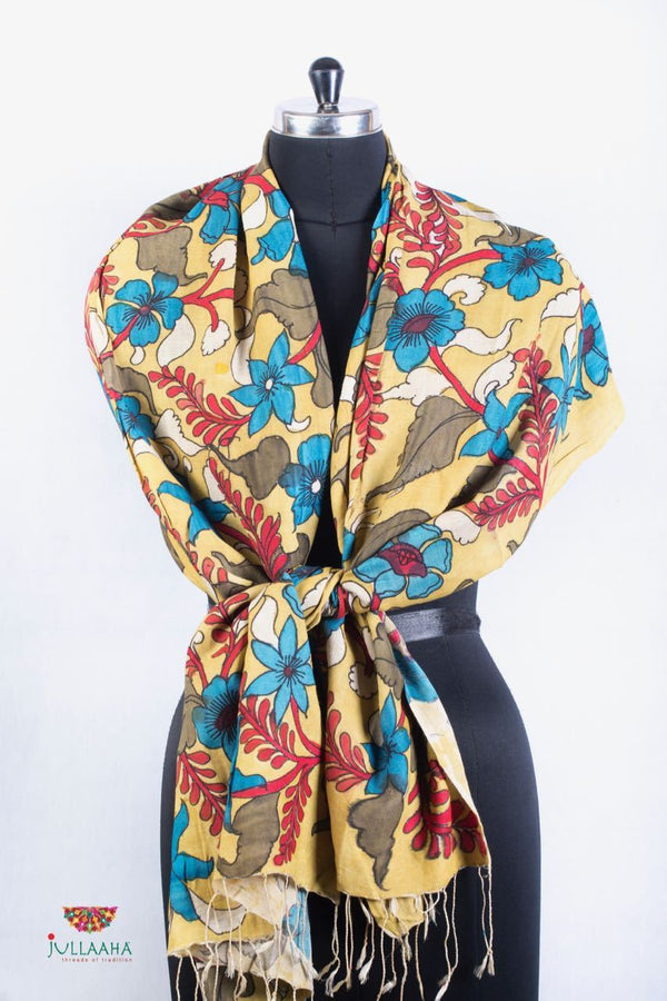 Pashmina Stole With Hand Drawn Kalamkari Floral Design. - Jullaaha Boutique