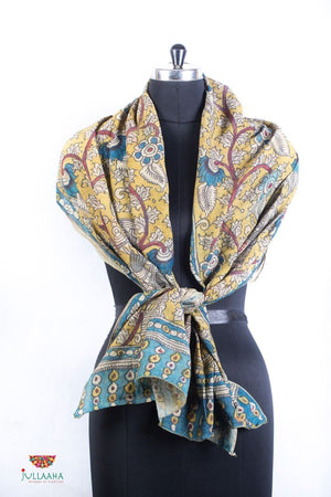 Chanderi Silk  Stole With Hand Drawn Kalamkari Floral Design - Jullaaha Boutique