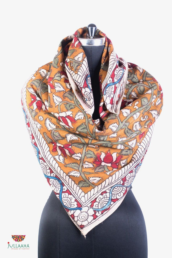 Soft Silk  Scarf With Hand Drawn Kalamkari Floral & Lotus Design - Jullaaha Boutique