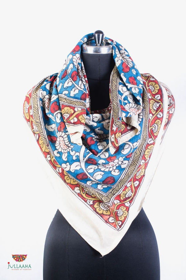 Soft Silk  Scarf With Hand Drawn Kalamkari Floral Design - Jullaaha Boutique