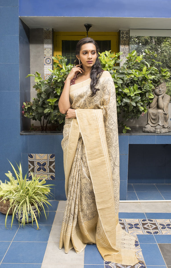 Kalamkari Tussar Silk Saree - Cream & Black - Jullaaha Boutique
