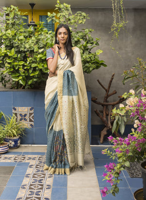 Kalamkari Jute Silk Saree - Blue - Jullaaha Boutique
