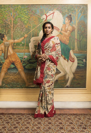 Kalamkari Crepe Silk Saree - Rust - Jullaaha Boutique