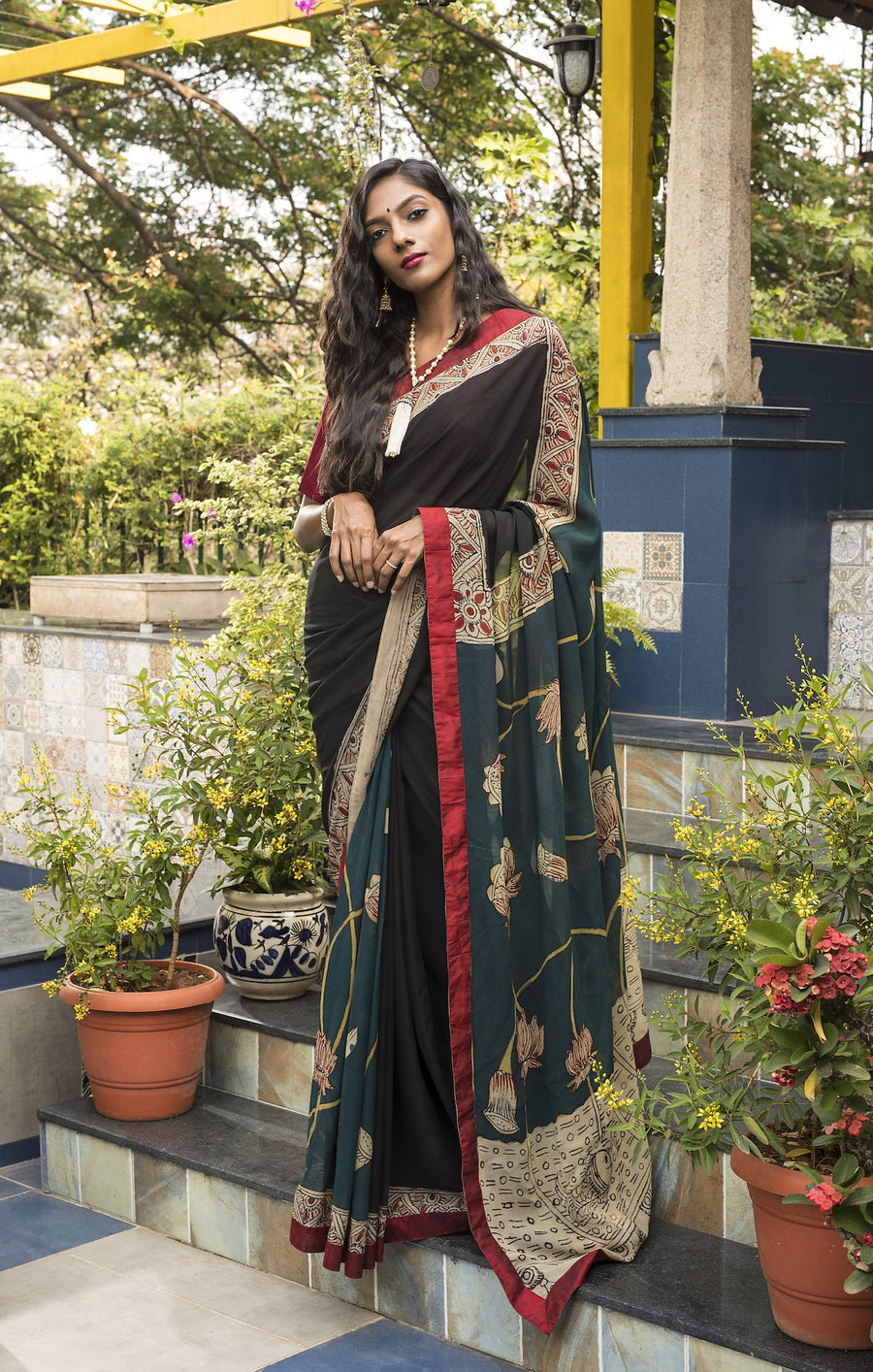 Georgette Kalamkari Saree  - Black & Blue - Jullaaha Boutique