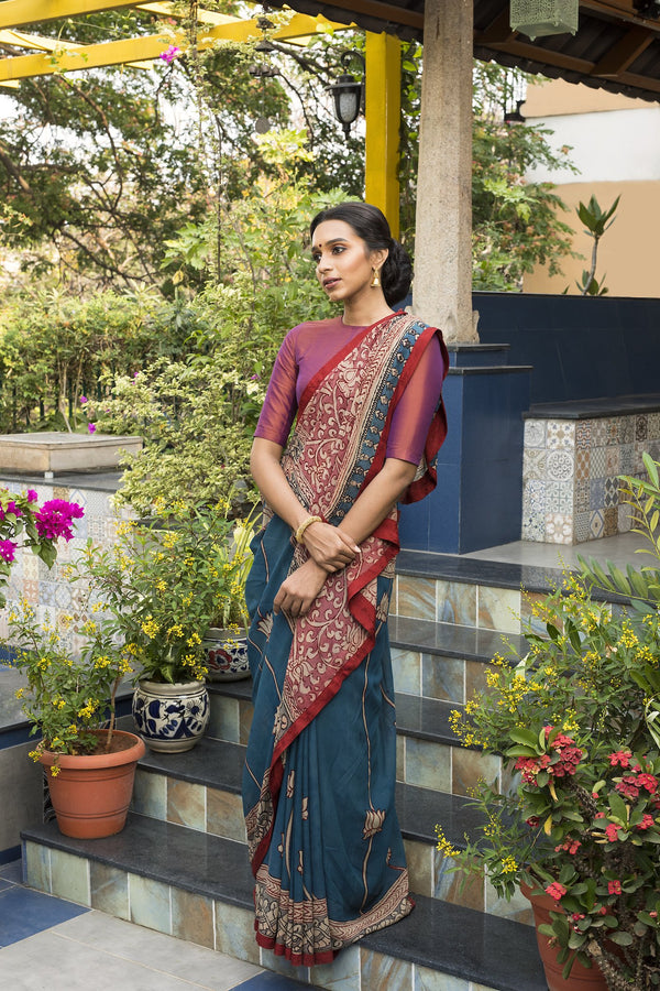 Georgette Kalamkari Saree  - Blue & Rust - Jullaaha Boutique