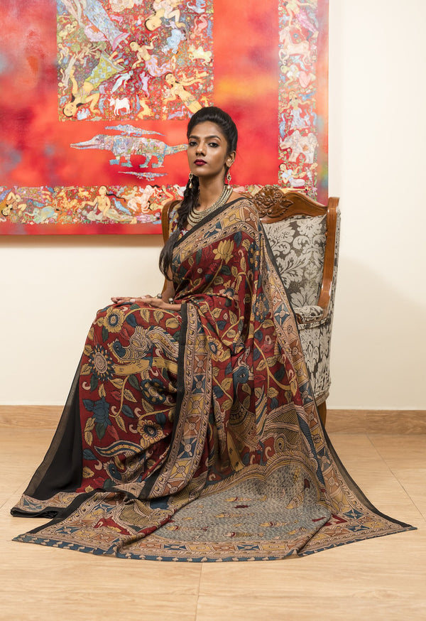 Georgette Kalamkari Saree  - Maroon & Black - Jullaaha Boutique