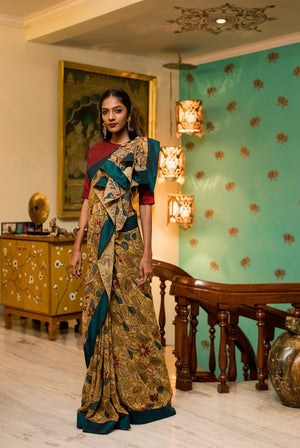 Georgette Kalamkari Saree - Cream, Blue, Yellow and Red - Jullaaha Boutique
