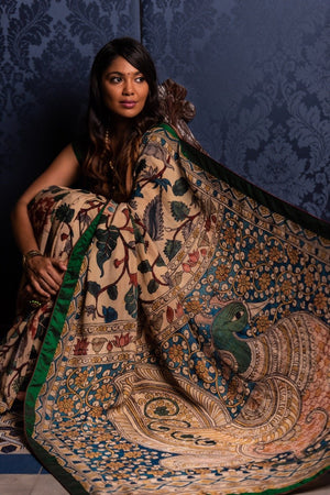 Jaya Devi Signature Crepe Silk Kalamkari Saree - Multi-color - Jullaaha Boutique