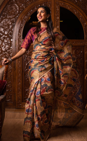 Jaya Devi Signature Kota Silk Kalamkari Saree - Multi-color - Jullaaha Boutique