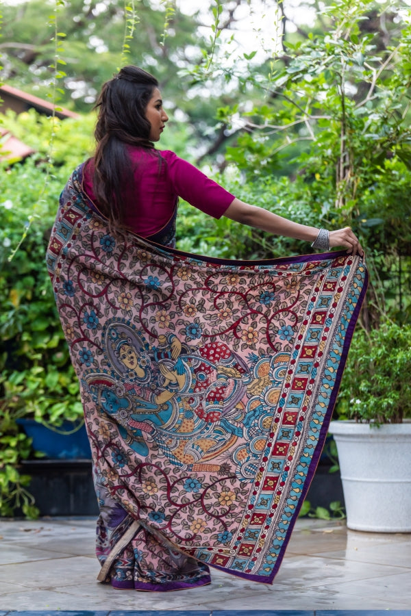 Jaya Devi Signature Crepe Silk Kalamkari Saree - Purple and Multicolor - Jullaaha Boutique