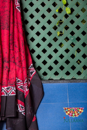 Handpainted Original Cotton Batik Saree - Maroon, Black and White - Jullaaha Boutique