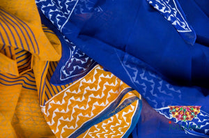 Georgette Blockprint Saree - Deep Blue and Mustard - Jullaaha Boutique