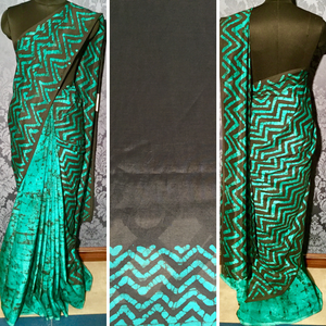 Soft Silk Batik Saree - Black with sea green - Jullaaha Boutique