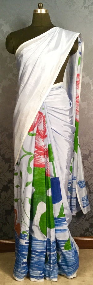 Soft Silk Handpainted Saree - Multicolour - Jullaaha Boutique