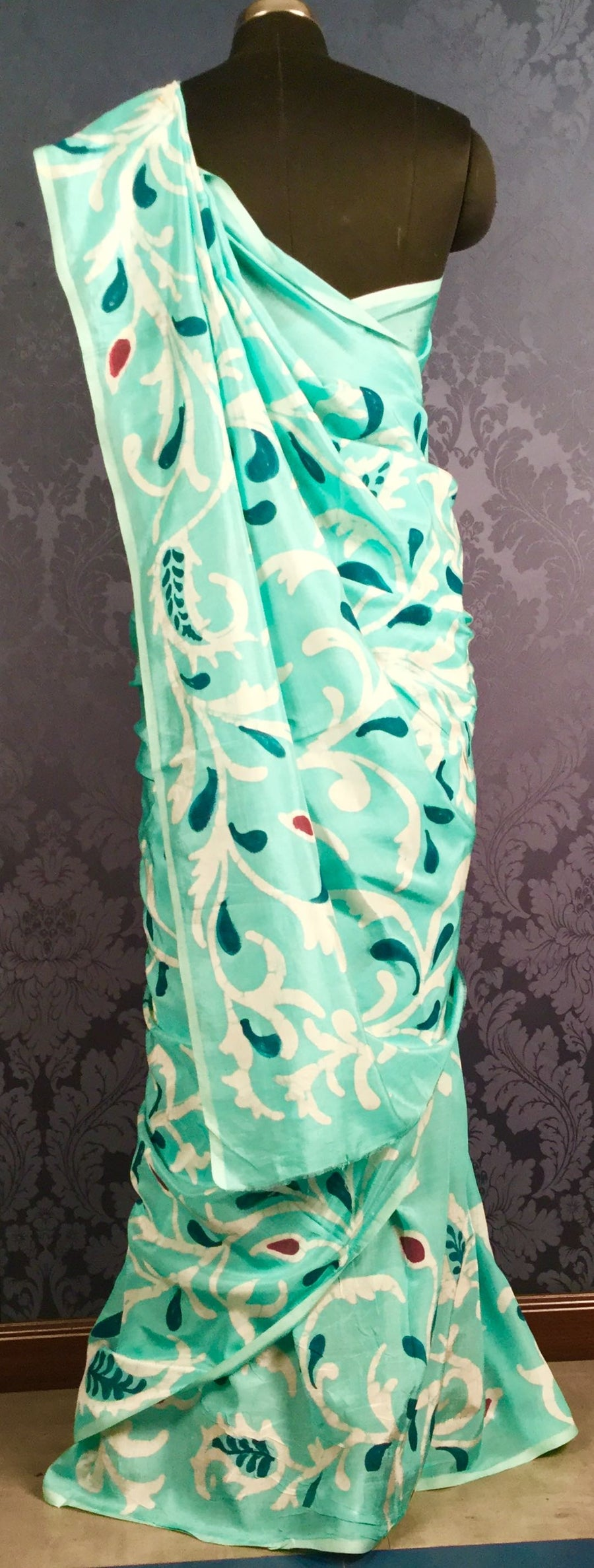 Soft Silk Handpainted Batik Saree - Sea Green & Peacock Blue - Jullaaha Boutique