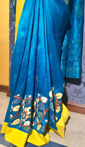 Silk Kalamkari Saree - Blue & Multicolor - Jullaaha Boutique