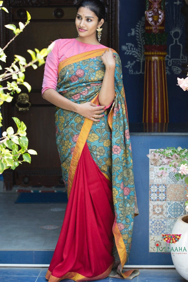 Kalamkari Saree - Red & black - Jullaaha Boutique