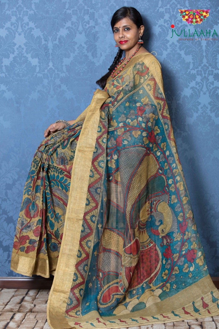 Kalamkari Saree - Yellow - Jullaaha Boutique