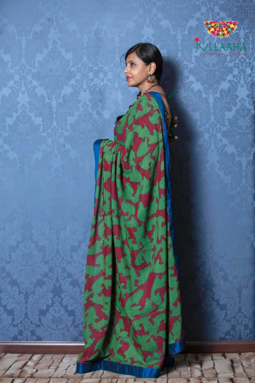 Kalamkari Saree - Jute & marron - Jullaaha Boutique