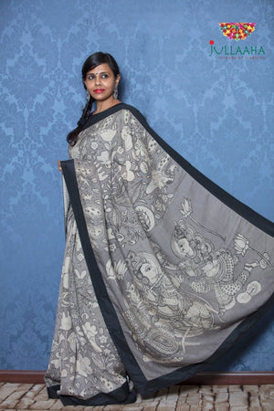 Kalamkari Saree - Grey - Jullaaha Boutique