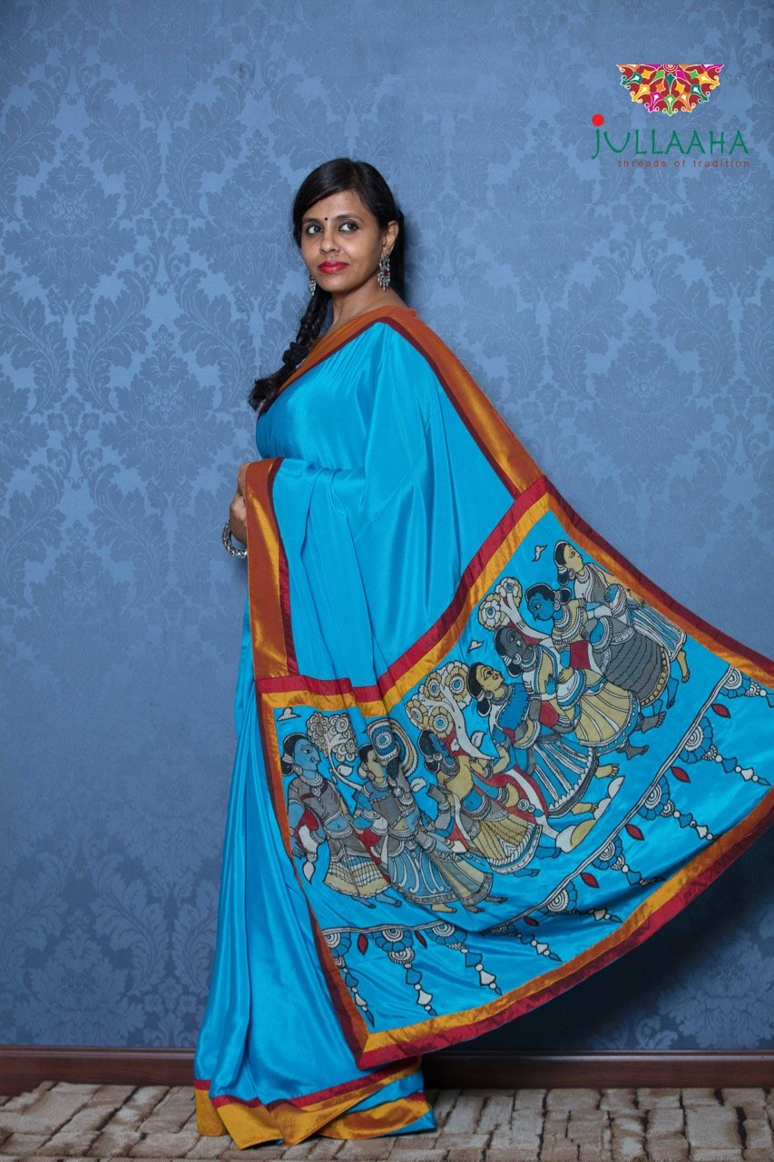 Kalamkari Saree - Blue - Jullaaha Boutique