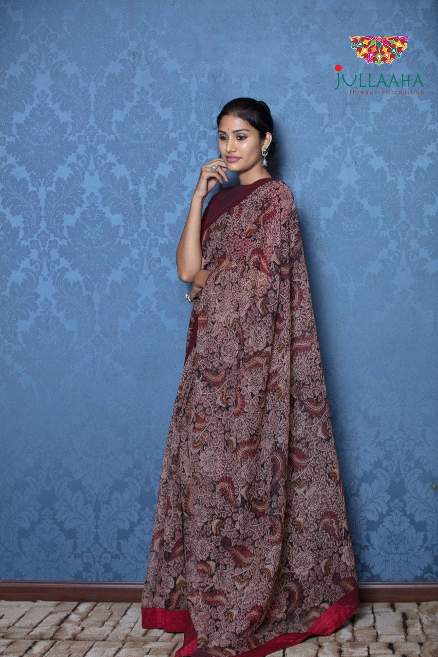 Kalamkari Saree - Maroon & black - Jullaaha Boutique