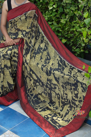 Kalamkari Saree - Black & maroon - Jullaaha Boutique