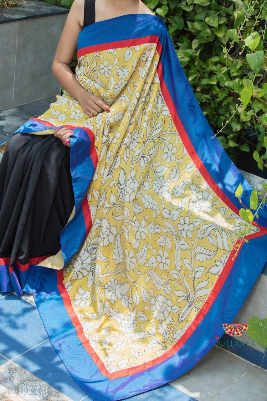 Kalamkari Saree - Yellow & Black - Jullaaha Boutique