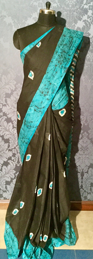 Cotton Batik Saree - Black, blue and white - Jullaaha Boutique