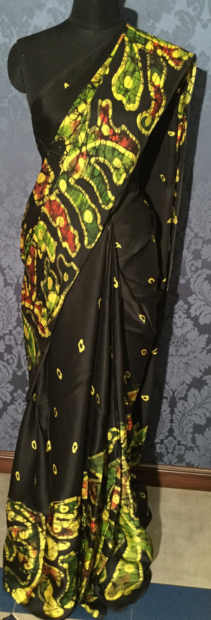 Sumo Satin Batik Saree - Black with multi color - Jullaaha Boutique