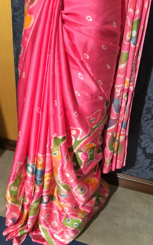 Sumo Satin Batik Saree - Baby pink with multi color - Jullaaha Boutique