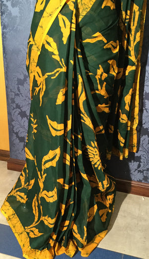 Cotton Batik Saree - Bottle green with yellow - Jullaaha Boutique