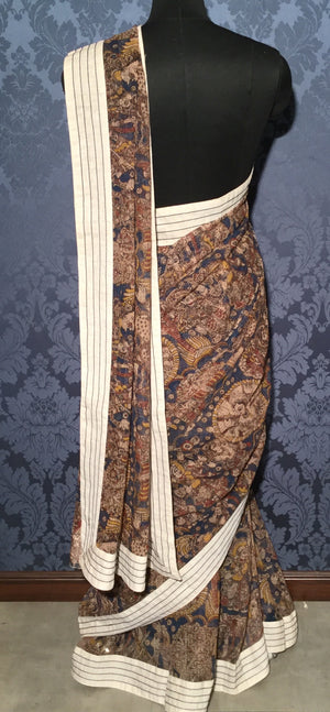 Kota Kalamkari Saree - Navy Blue with Multi Colour - Jullaaha Boutique