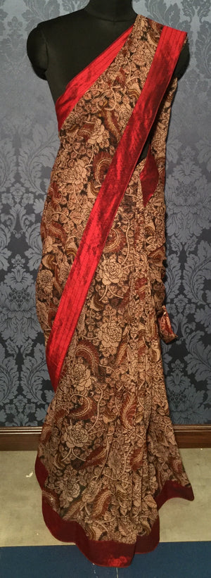 Kota Kalamkari Saree - Maroon with multi-color - Jullaaha Boutique