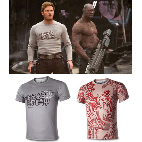 Guardians of the Galaxy Star Lord Drax Cosplay Short Sleeve T-Shirts