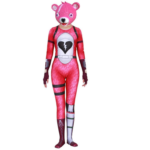 Fortnite Cuddle Team Leader Bear Outfit Cosplay Costume Pink
