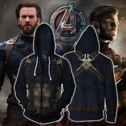 2019 Avengers: Endgame Hoodie Captain America Cosplay Costume Sweatshirts Jacket Coat
