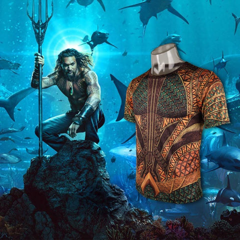 3D Print T-shirt Movie Aquaman Arthur Curry Skin Costume T-shirts Tight Sport Tee Cosplay Halloween Party Accessories