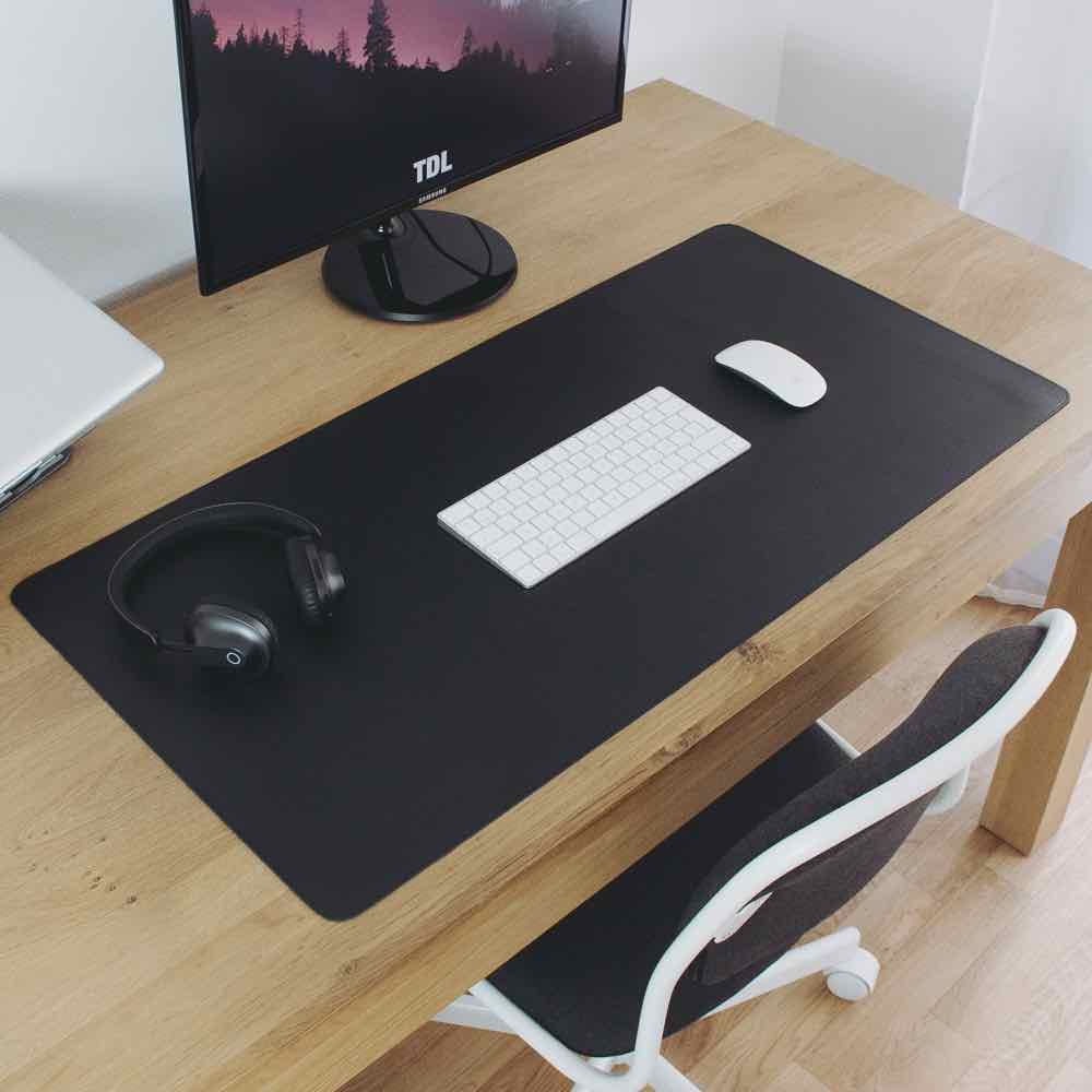 Leather Desk Mat - Black