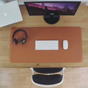 Leather Desk Mat - Camel Brown