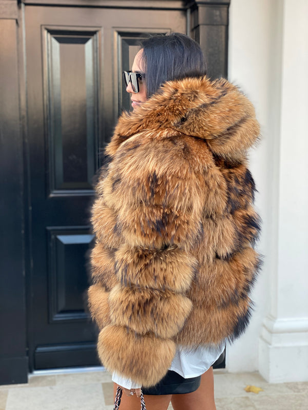 Hooded Raccoon coat