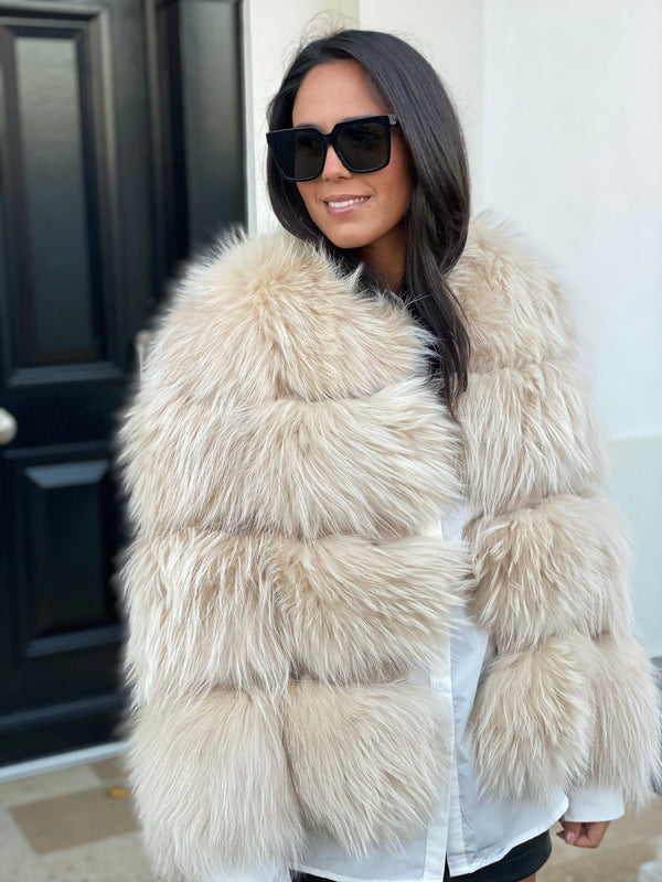 Nude raccoon coat