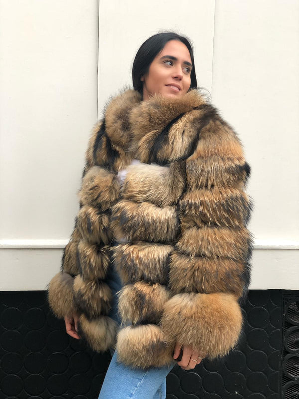 Long raccoon coat