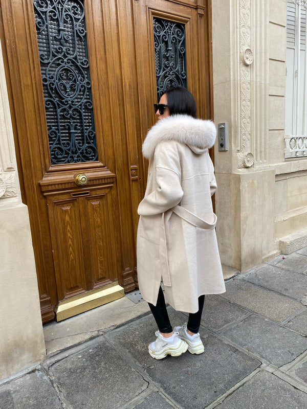 Manteau en cachemire long hooded